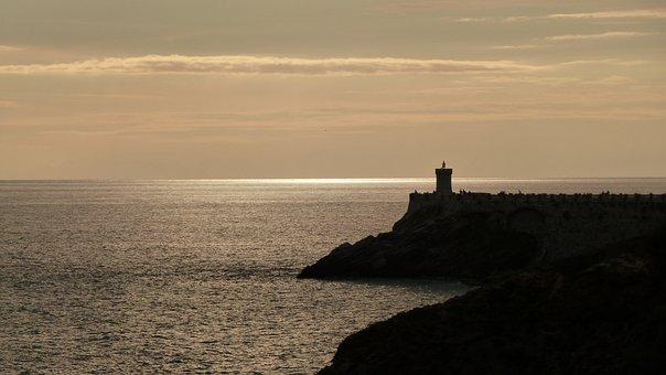 Lighthouse, Tuscany, Piombino, Italy, Evening Light