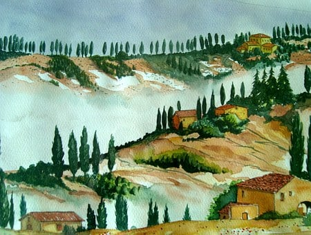 Watercolour, Painting, Art, Landscape, Tuscany, Fog
