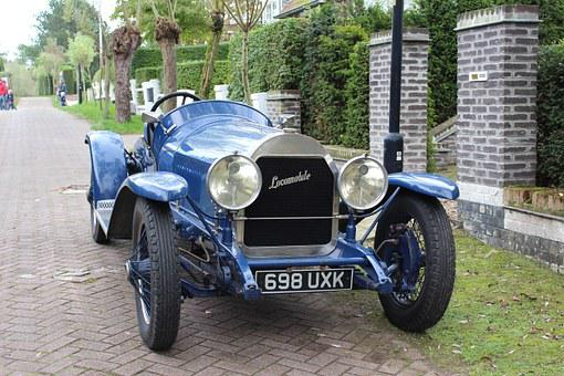 Car, Classic Car, Locomobile, Blue, Street, Parking