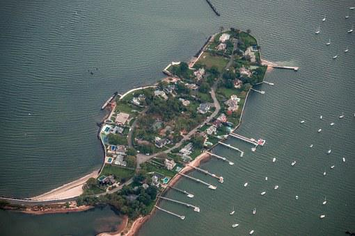 New York, Edgewater Point, Aerial View, Island