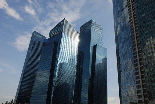 Skyscraper, Singapore, Sky, Reflection