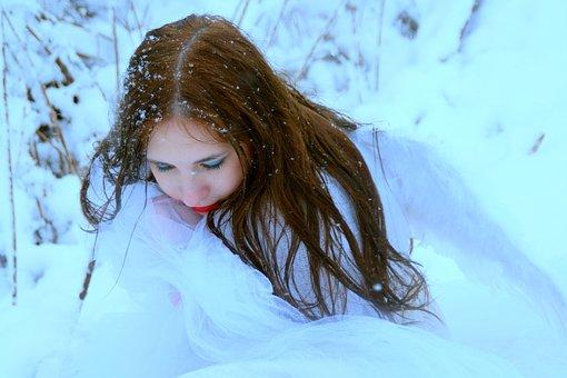 Girl, Snow, Princess, Story, White, Portrait, Blue