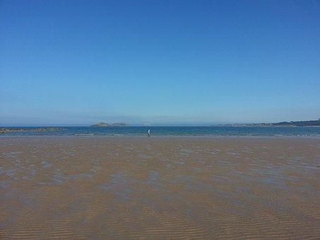 Beach In Scotland, Tide Out, Blue Sky