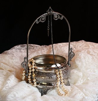 Antique Jewel Box, Victorian, Pearls, Lace, Old Silver