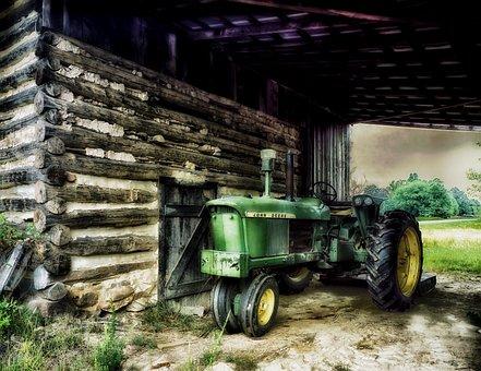 North Carolina, Farm, Rural, Tractor, Barn, Logs, Hdr