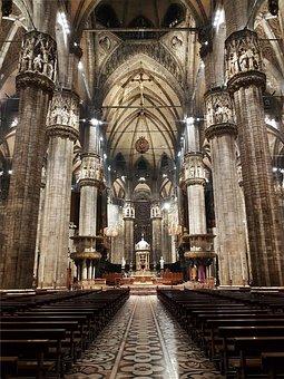 Italy, Milan, Cathedral, Duomo, Nave, Aisle