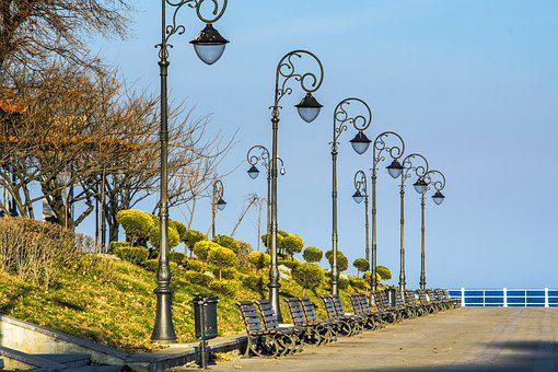 Cliff, Lamps, Sky, Sun, Blue, Shadow, Flower, Green