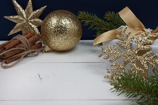 Gold Christmas, Gold Snowflake, Gold Star, Golden Ball