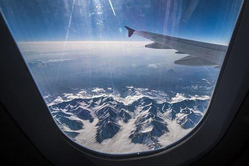 Mountains, Plane, Sky, Flight, Aviation, Height, Blue
