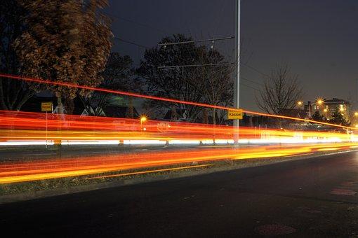 Kassel, City, At Night, Light, Road, Lights