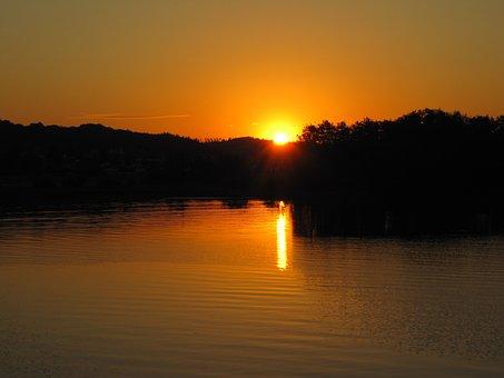Sunset, Nature, Lake Hallwil, Lake