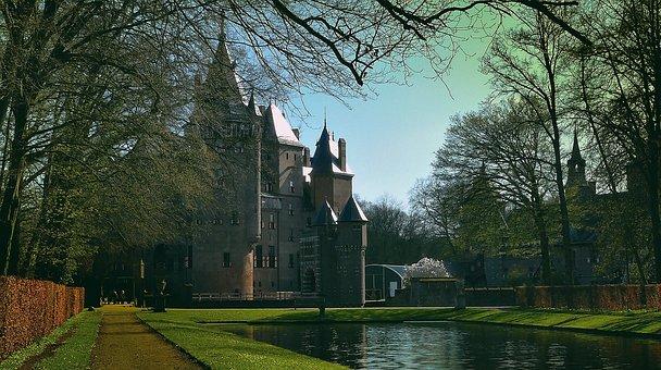 Castle, De Haar, Netherlands, Building, Park, Landmark