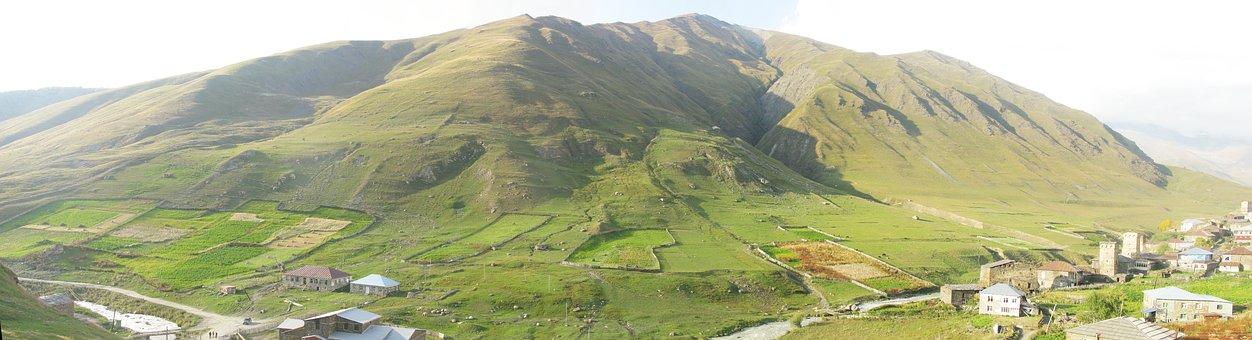 Georgia, Ushguli, Landscape, Panorama, Nature, Village