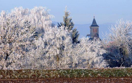 Church, Landscape, Winter, Gel, Roggenhouse, Alsace