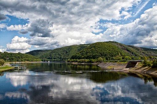 Lake, Clouds, Nature, Seascape, Water, Sky, Landscape