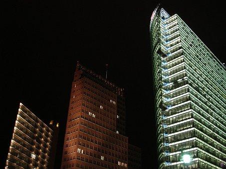 Skyscraper, Skyscrapers, Gebädue, Lighting, Night