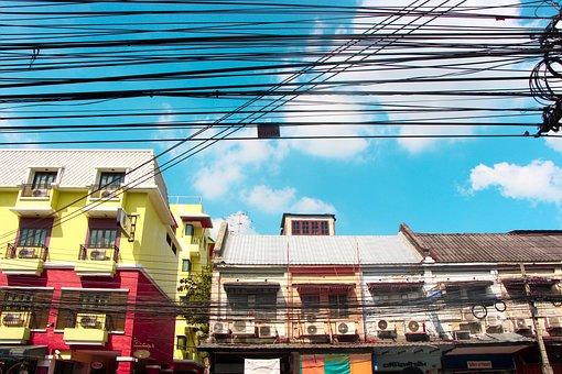 Bangkok, Khao San, House, Street, Wire, Electricity