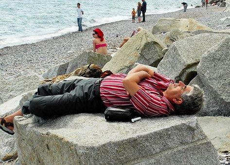 Man, Beach, Concerns, Rest, Click, Rügen, Sassnitz