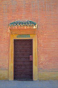 Morocco, Marrakech, Red City, Door, Wall, Entrabce, Old