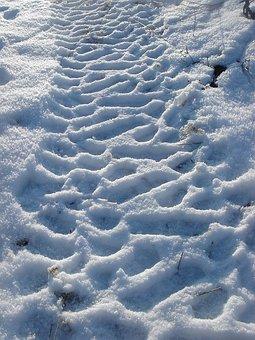 Winter, Snow, Print, Path