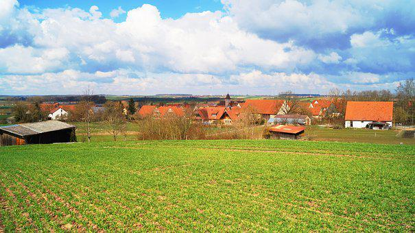 Outskirts, Village, Rural Area, Outlook, Houses, Meadow