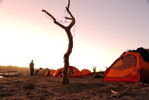 Camp, Beach, Sunset, Dusk, Sea, Sun, Landscape