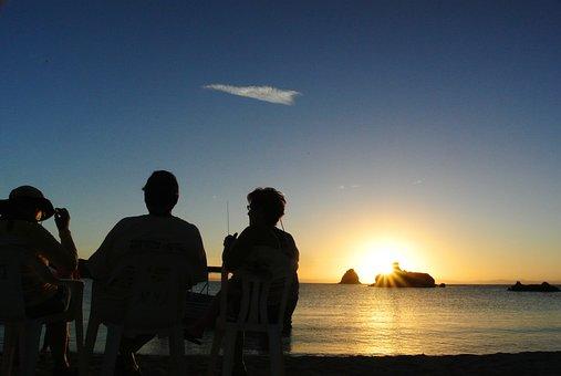 Beach, Sunset, People, Sea, Sun, Dusk, Afternoon