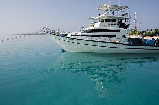 Maldives, Sea, Boat, Water, Reflections