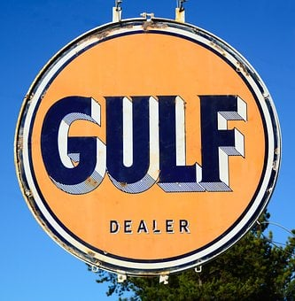 Gulf Oil Sign, Rustic, Antique, Old, Gasoline, Fuel