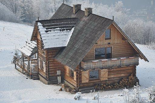 Cottage, Highlander's Cabin, Winter, Snow, Mountains