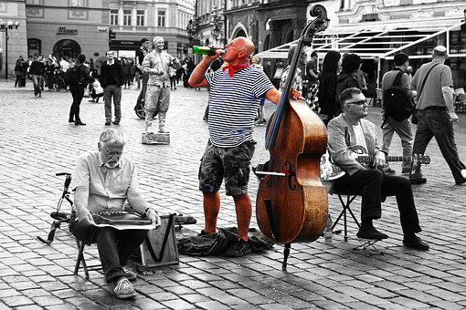Musician, Street, Music, Beer, Base, Square, Prague