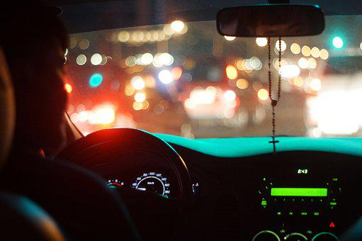 Traffic, Car, Night, Driver, Bokeh, Seat, Dashboard