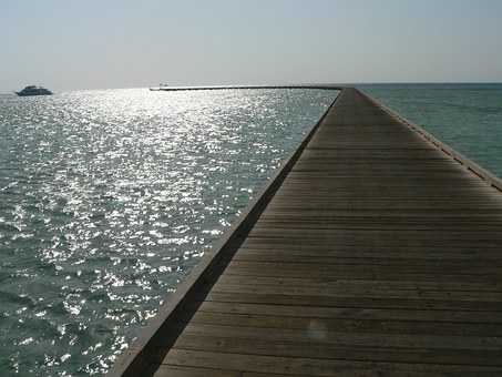 Pier, Beach, Sea, Egypt