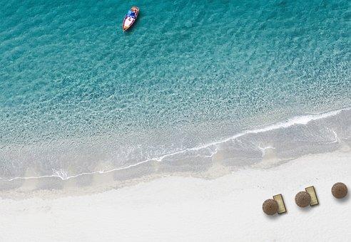 Beach, Bird's Eye View, Drone, Sea, Blue, Ship