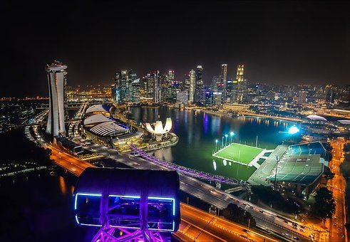 Singapore, Singapore Flyer, Merlion Park, Long Exposure