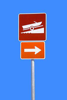 Boat Ramp Sign, Sign, Ramp, Boat, Water, Symbol, Icon