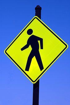 Pedestrian Sign, Walking, Caution, Sign, Isolated