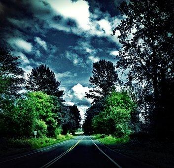 Whatcom, County, Washington, Rural Road, Clouds