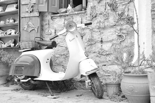 Vespa, Motorcycle, Greece, Karpathos, White, Black