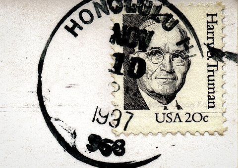Postcard, Stamp, Postmark, 1997, Harry Truman, Honolulu