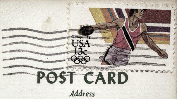 Postcard, Stamp, Postmark, Ink, Envelope, Travel