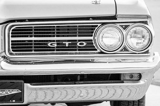 Muscle Car, Headlights, Bumper, Sepia, Black And White