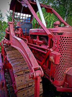 Caterpillar, Tractor, Red, Machinery, Bulldozer