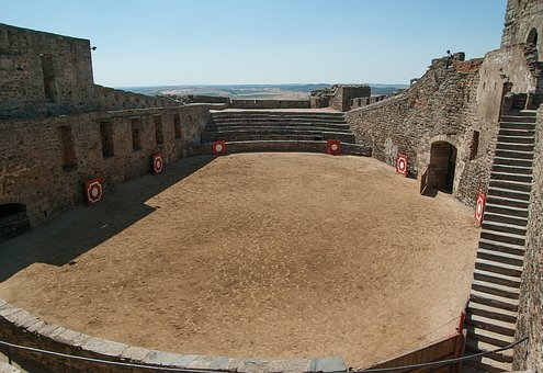 Portugal, Castle, Arena, Ramparts, Bullfight
