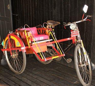 Trishaw, Side Car, Asian, Myanmar, Burma, Inle Heritage