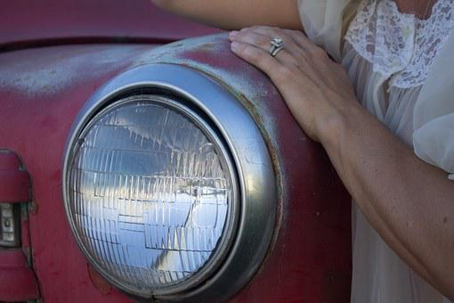 Headlight, Vintage, Red, Classic, Old, Transportation