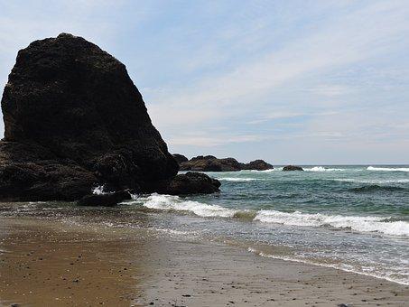 Coast, Oregon Coast, Ocean, Water, Beach, Nature, Sand