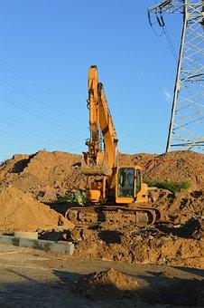 Excavator, Construction Equipment, Excavator Digs, Sand