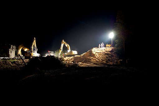Night Construction Site, Site, Construction Work