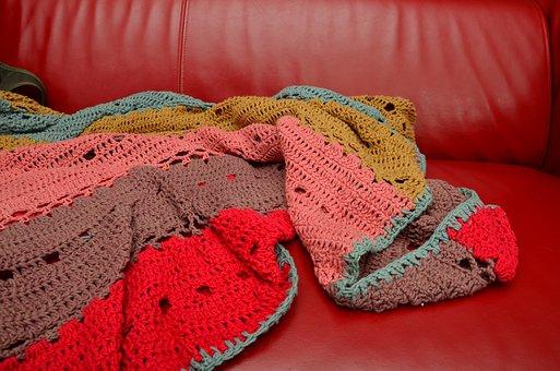 Crochet Blanket, Sofa, Couch, Blanket, Hand Labor, Sit